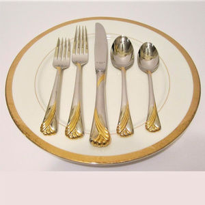 Lenox 5 Piece Setting Gold Frosted Flatware NEW